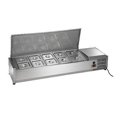 "Arctic Air ACP55 55"" Refrigerated Countertop Dispenser Station w/ (10) Sixth-Size Pans - 115v"