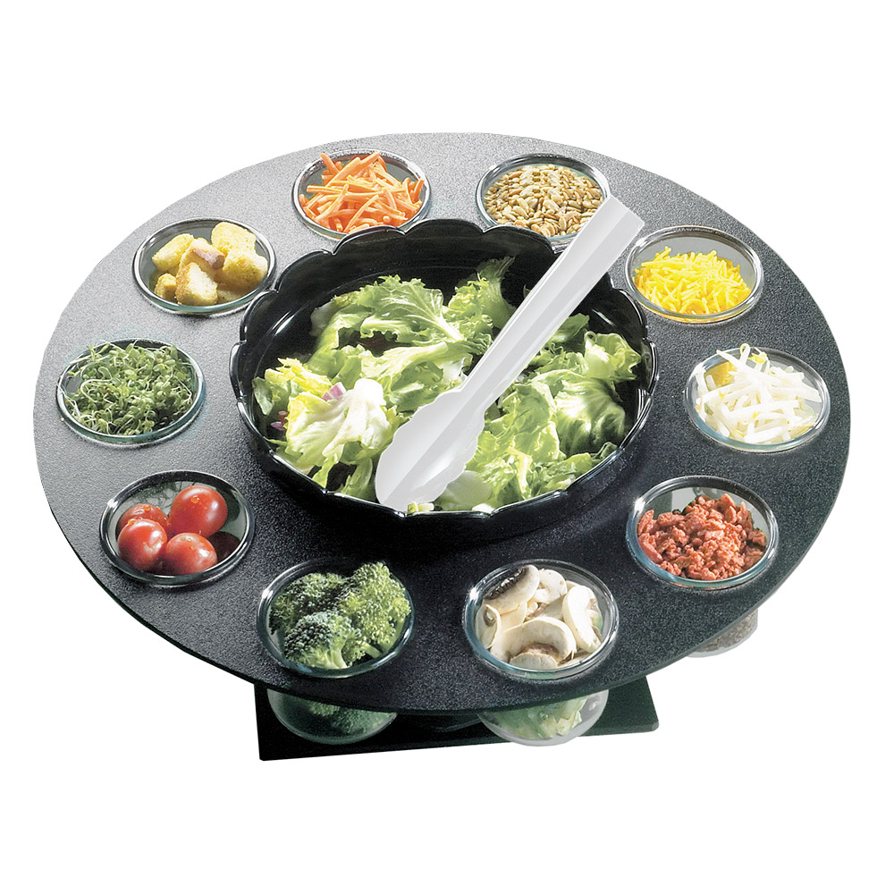 "Cal-Mil 1014 18"" Revolving Salad Server w/ Bowl & (10) 3"" Ingredient Cups"