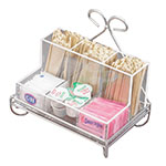 "Cal-Mil 1081-39 Wire Frame Coffee Condiment Unit w/ Plastic Insert, 9 x 6 x 8"" H"
