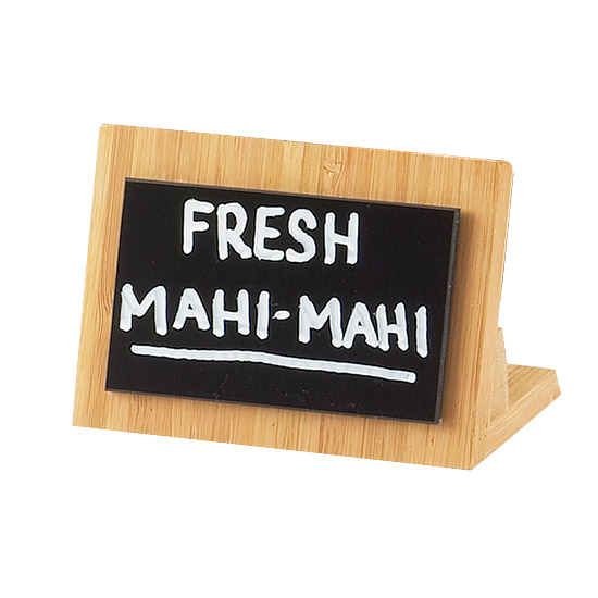 Cal-Mil 1103-23-60 Bamboo Write-On Sign Holder, 4.25 x 2-1/8 x 2.75-in, BPA Free