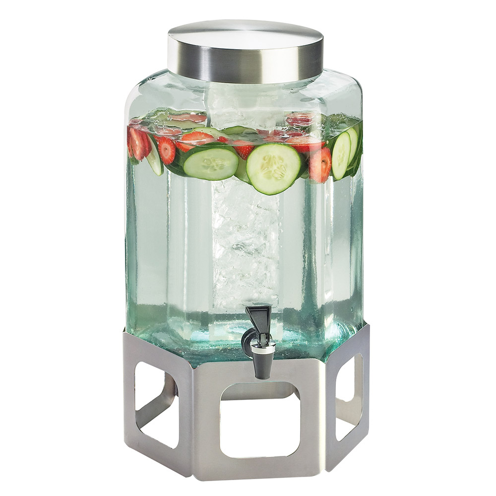 Cal-Mil 1111-55 2-gal Hexagon Beverage Dispenser - Lid, Spigot, Glass, Stainless Steel
