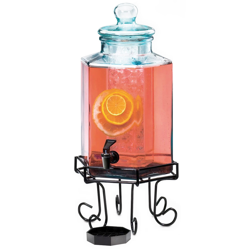 Cal-Mil 1111 2-gal Octagon Glass Beverage Dispenser w/ Ice Chamber, Lid & Spigot