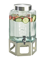 Cal-Mil 1111INF-55 2-gal Hexagon Beverage Infusion Dispenser - Lid, Spigot, Glass, Stainless