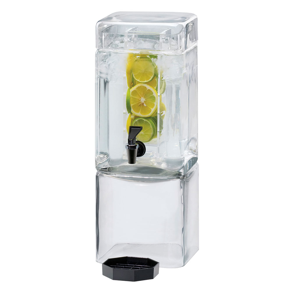 Cal-mil 1112-1AINF 1.5-Gallon Square Acrylic Beverage Dispenser w/ Infusion Chamber