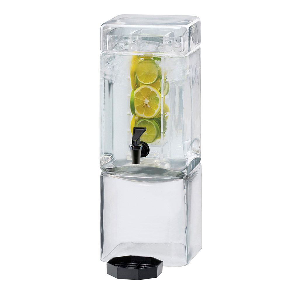 Cal-Mil 1112-1INF 1.5-Gallon Square Glass Beverage Dispenser w/ Infusion Chamber