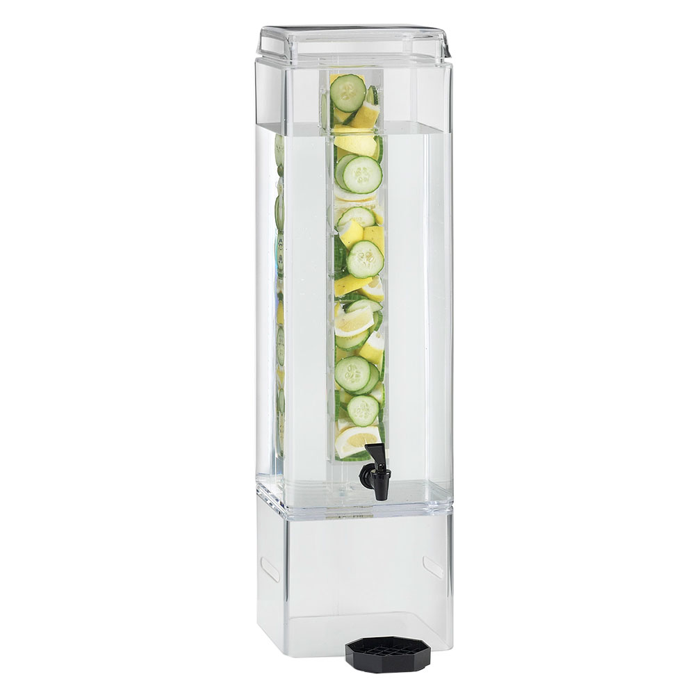 Cal-Mil 1112-5AINFH 5-gal Square Beverage Dispenser - Infusion Chamber, Handles, Acrylic, Clear
