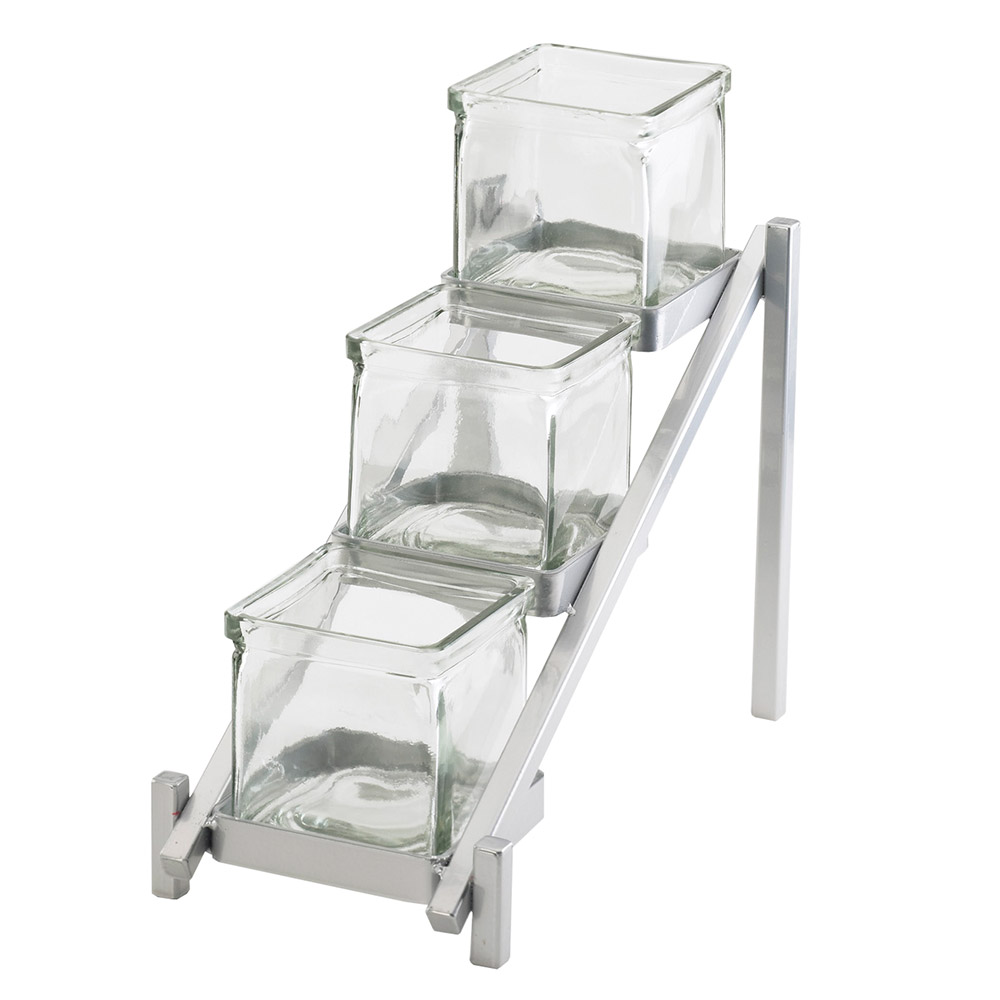 Cal-Mil 1149-74 3-Tier Jar Display - Glass Jars, Silver
