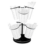 "Cal-Mil 1227-13 6-Ring Cutlery Holder w/ Revolving Black Base, 12 x 15.25"" High"