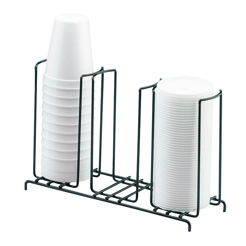 "Cal-Mil 1229 Cup & Lid Organizer w/ (3) 4"" Slots & Black Wire Frame"