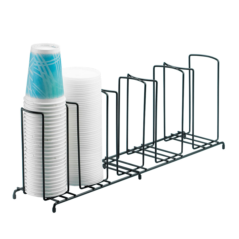 "Cal-Mil 1233 Cup & Lid Organizer w/ 5-Slots & Black Wire Frame, 22 x 6 x 9"" H"