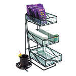 Cal-Mil 1235-TEA 3-Tier Tea Center w/ Faux Glass Removable Bins & Black Wire Frame
