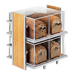 Cal-Mil 1279 Eco Modern Bread Box Display w/ 2-Tiers, Silver Wire & Bamboo