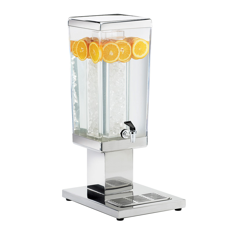 Cal-Mil 1282-3A 3-Gallon Square Acrylic Beverage Dispenser w/ Stainless Base