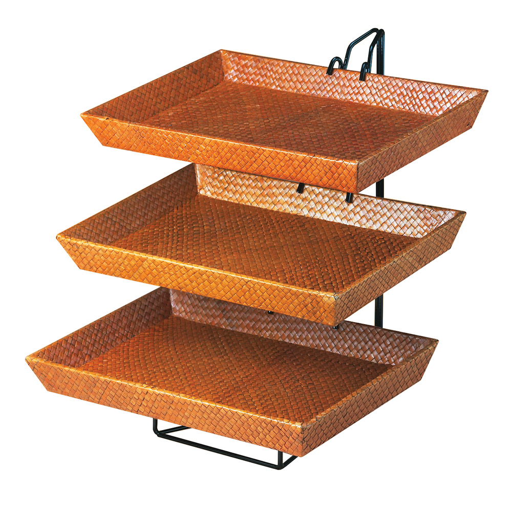 "Cal-Mil 1290-3 3-Tier Display & Server Stand w/ (3) 17.5 x 12"" Bamboo Trays"