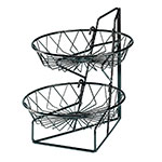 "Cal-Mil 1292-2 2-Tier Display Rack w/ 12"" Round Wire Baskets, Black Wire"