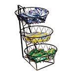 "Cal-Mil 1292-3 3-Tier Display Rack w/ 12"" Round Wire Baskets, Black Wire"