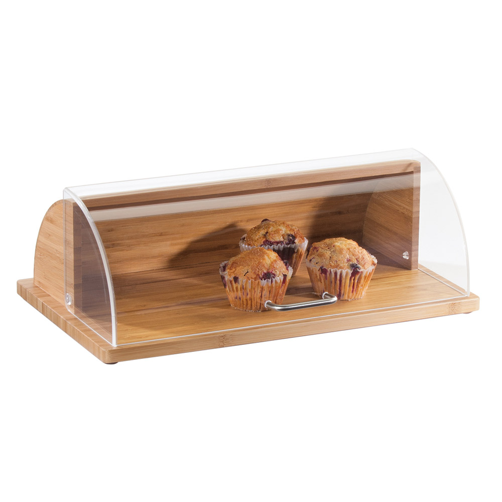 "Cal-Mil 1333-60 Roll-Top Bread Case - 20"" x 11.5"" x 6.5"", Acrylic/Bamboo"