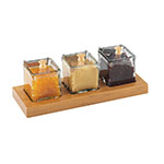 Cal-Mil 1338-60 Dipper Style Condiment Dispenser w/ (3) Jars, Bamboo