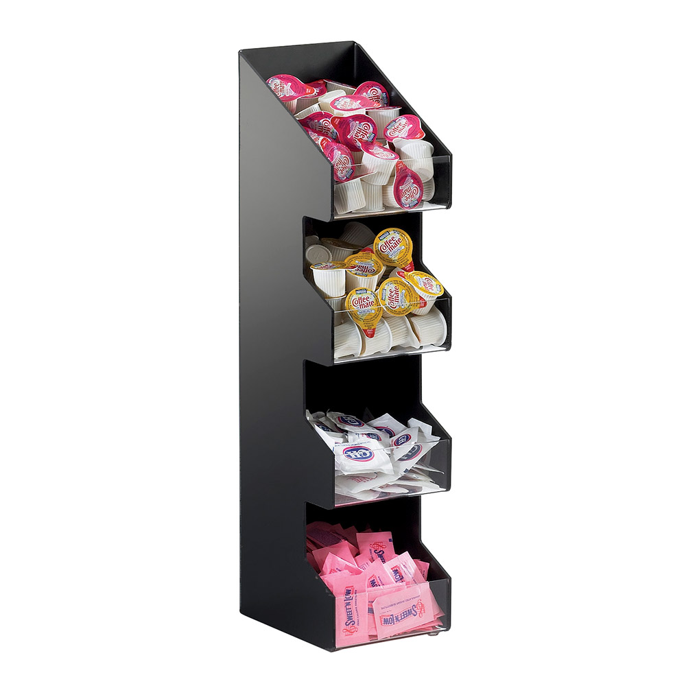 "Cal-Mil 1423 4-Tier Condiment Organizer w/ (4) 5 x 6"" Bins, Black ABS"