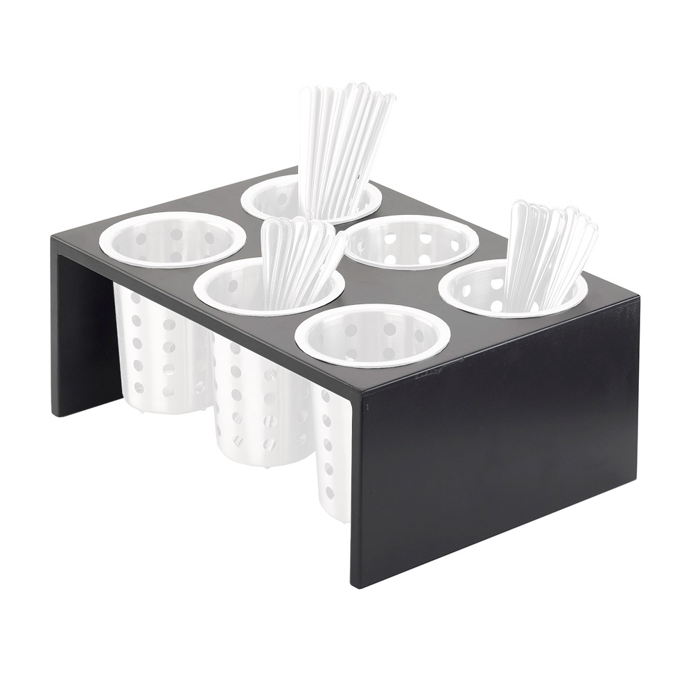 Cal-Mil 1425-6-96 6-Compartment Flatware Condiment Display - Midnight