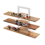 "Cal-Mil 1449-99 Reclaimed Wood Frame Riser Shelf for 1464 & 1467, 32 x 11.5"" D"
