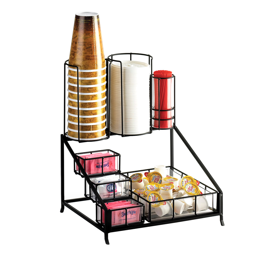 "Cal-Mil 1453 12"" Recycled Wire Condiment Cup Lid Display w/ Acrylic Inserts, Black"