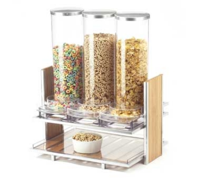 Cal-Mil 1499 2.7l Cereal Dispenser w/ (3) Dispensers, Silver Wire & Bamboo