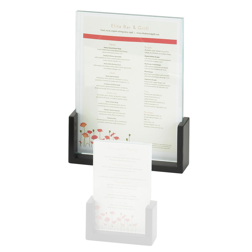 "Cal-Mil 1510-811-96 Tabletop Menu Card Holder - 8.5"" x 11"", Acrylic/Midnight Bamboo"