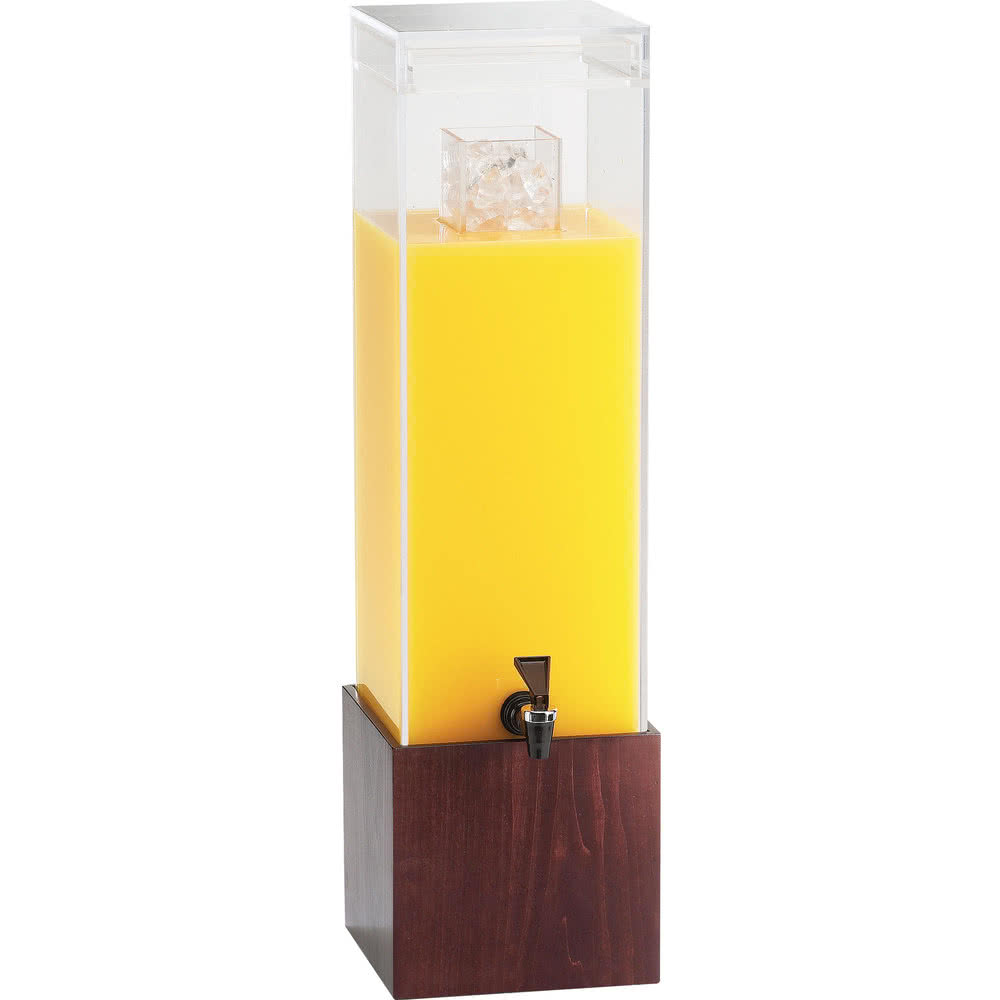 Cal-Mil 1527-3-52 3-gal Beverage Dispenser w/ Ice Chamber - Plastic w/ Dark Wood Base