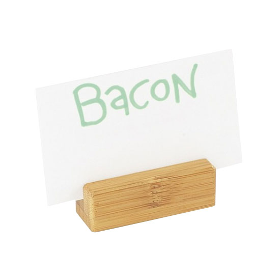 "Cal-Mil 1543-60 Tabletop Menu Card Holder - .75"" x 2.25"", Bamboo"