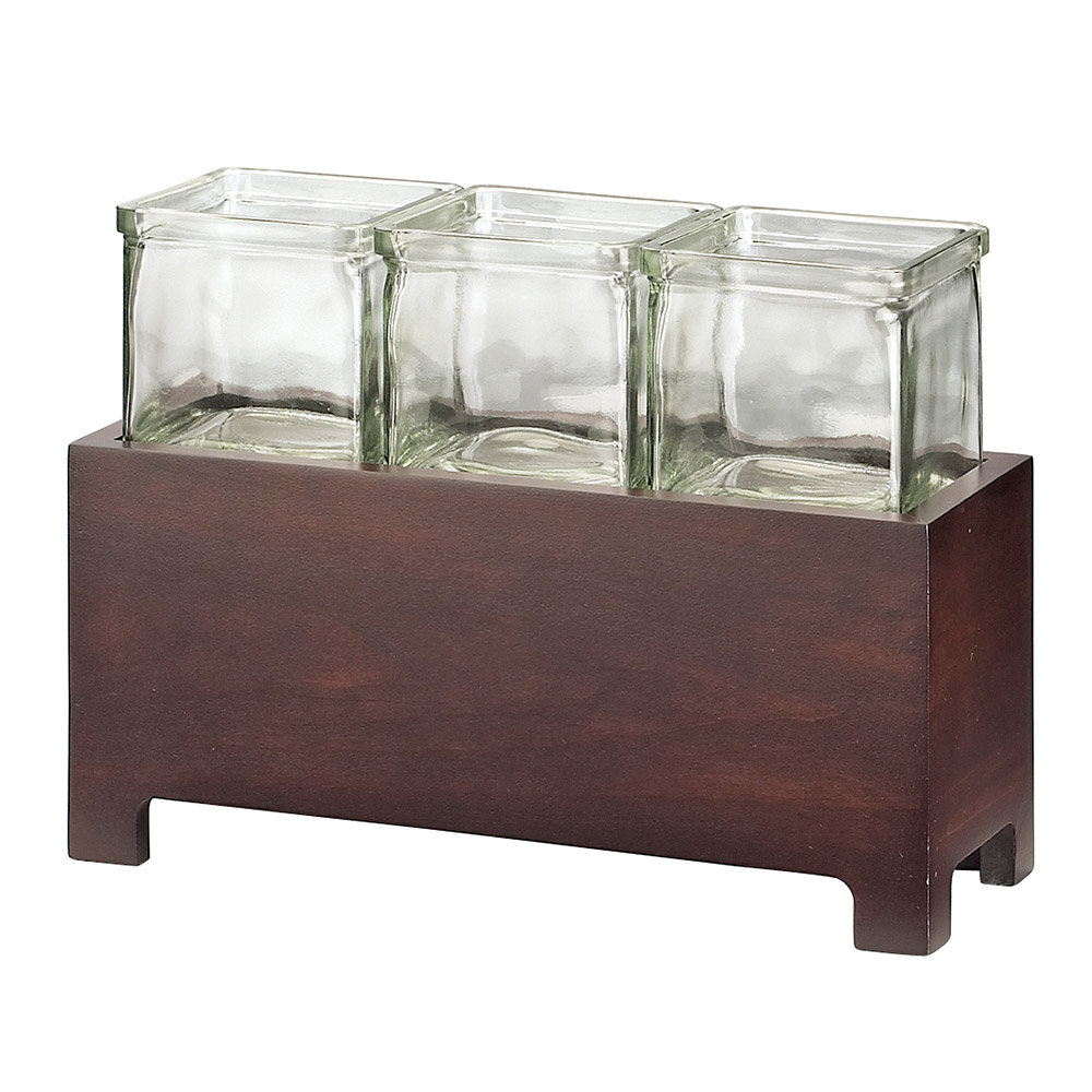 Cal-mil 1549-4-52 Jar Display w/ Glass jars, 12.5 x 4.75 x 4-in, BPA Free