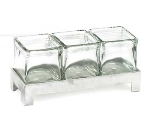 "Cal-Mil 1560-2 Jar Display w/ 4"" Square Jars, BPA Free, 2"" High, Aluminum"