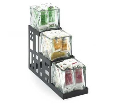 "Cal-Mil 1604-13 3-Step Squared Jar Display w/ Jars, 4 x 12 x 10.5"", Black"