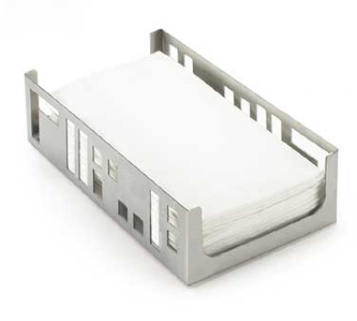 "Cal-Mil 1606-55 Squared Napkin Holder, 9.25 x 5.25 x 2.5"", Stainless"