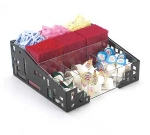 Cal-Mil 1616-13 Squared Condiment Organizer, 12 x 12 x 5.25-in, Black
