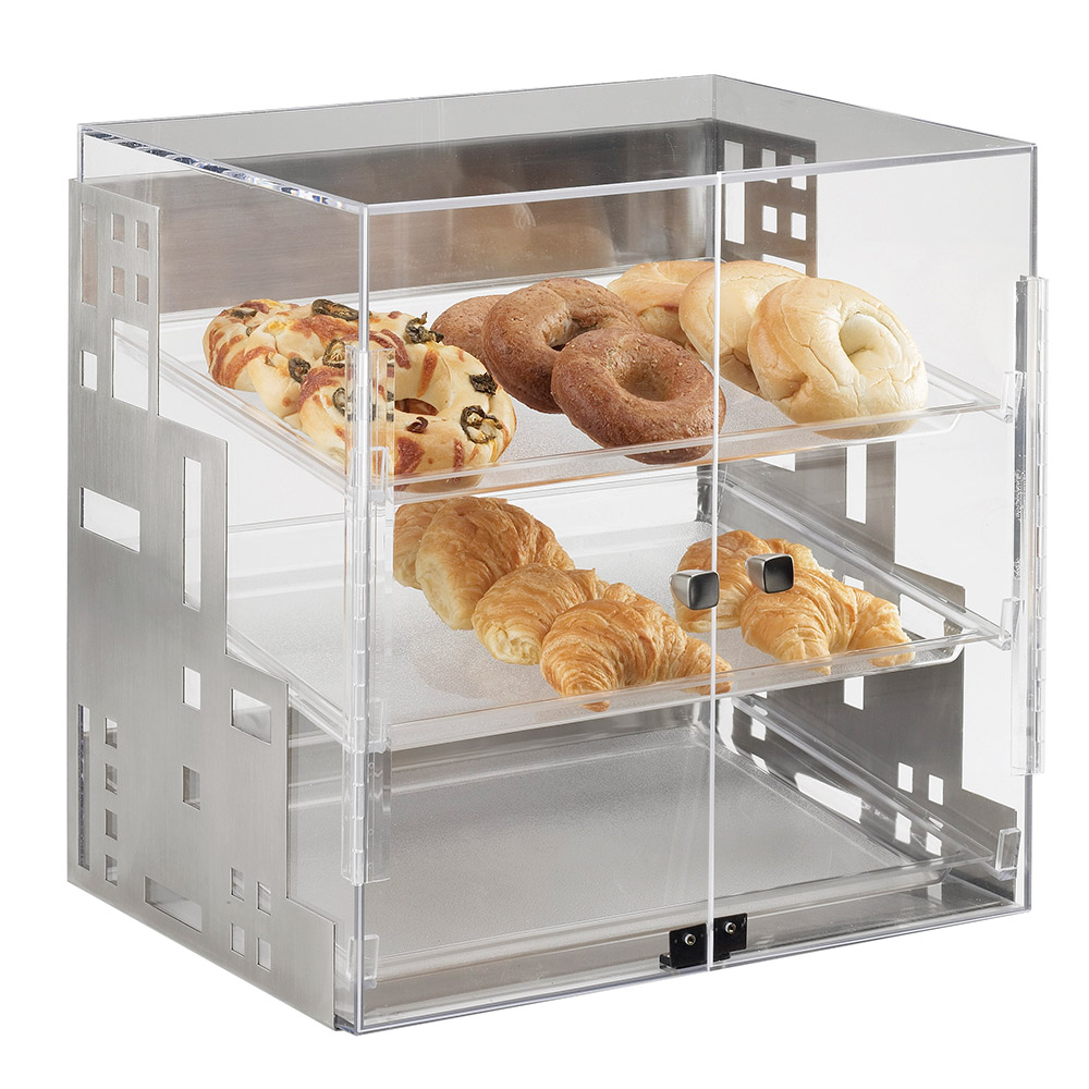 "Cal-Mil 1621-13 Self Serve Squared Display Case - 15x13x19"", Black"