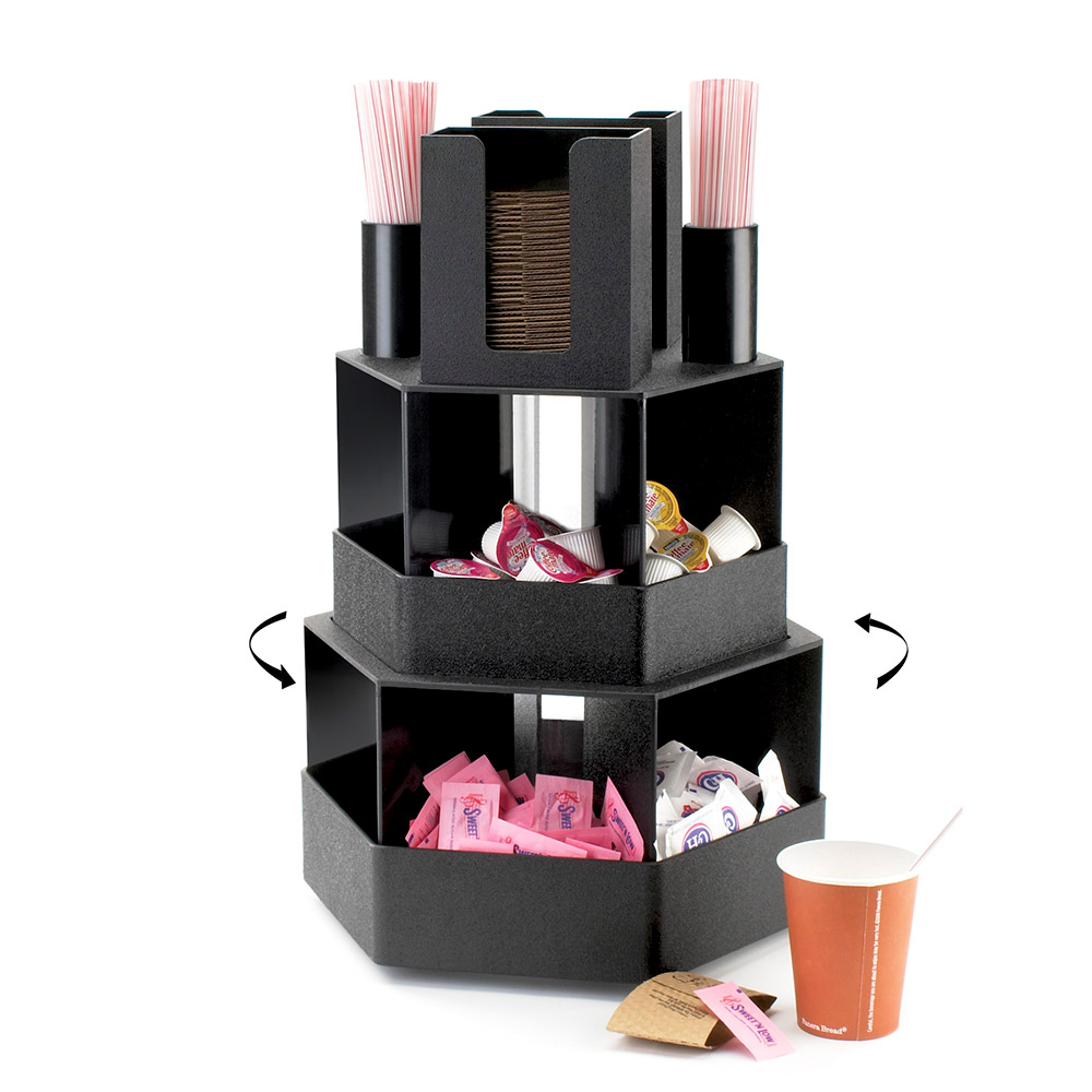Cal-mil 1719 3-Tier Revolving Condiment Display w/ Bins, ABS