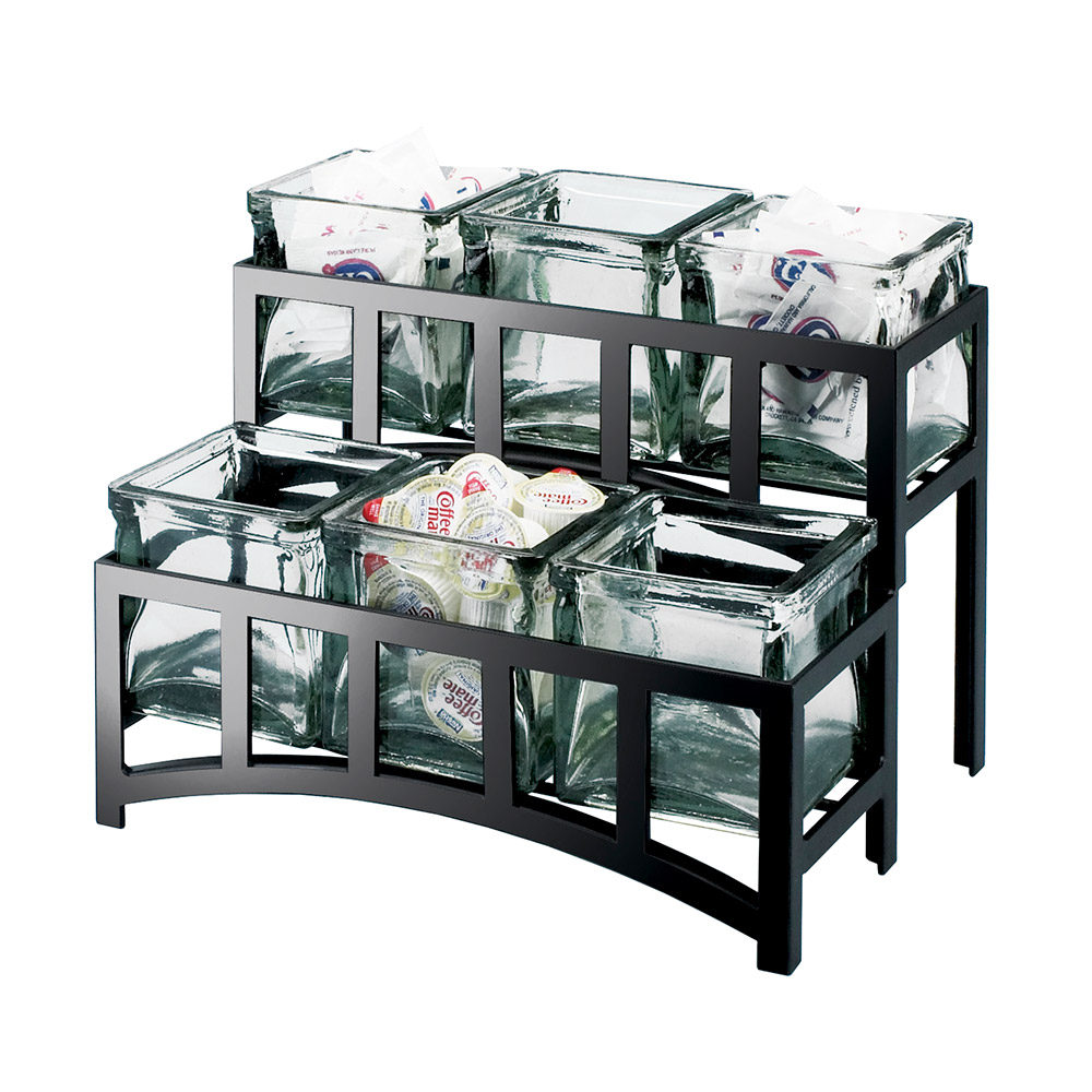 Cal-mil 172313 2-Tier Countertop Condiment Caddy Organizer w/ 6-Jars & 14x9x7-in, Black