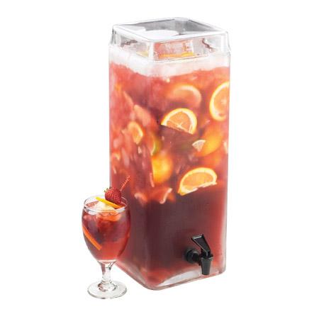 "Cal-Mil 1733-3 3-Gallon Square Glass Fusion Dispenser, 8 x 8 x 19"" High"