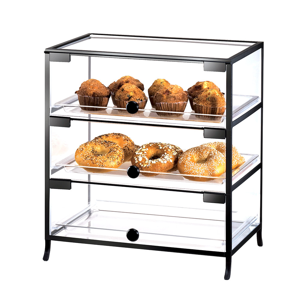 "Cal-Mil 1735-1318 3-Door Elite Display Case w/ (3) 13 x 18"" Trays & Acrylic Body"