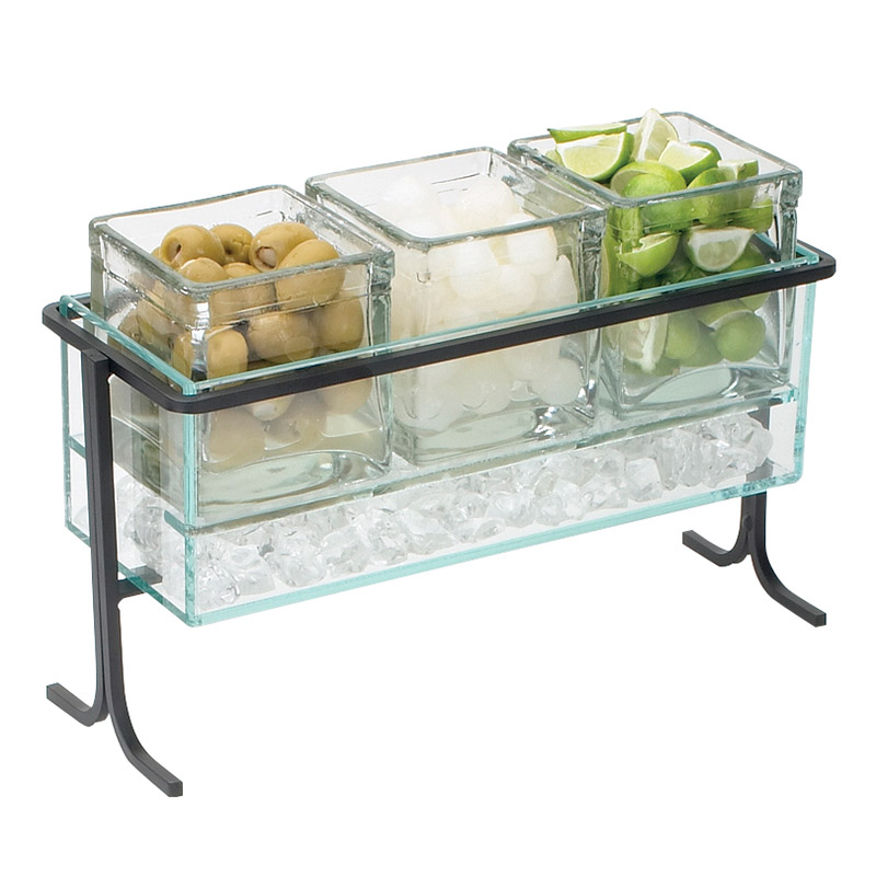 "Cal-Mil 1806-7-13 Horizontal Icing Jar Caddy w/ for 3-Jars, 13.5 x 5.5 x 9"", Black"