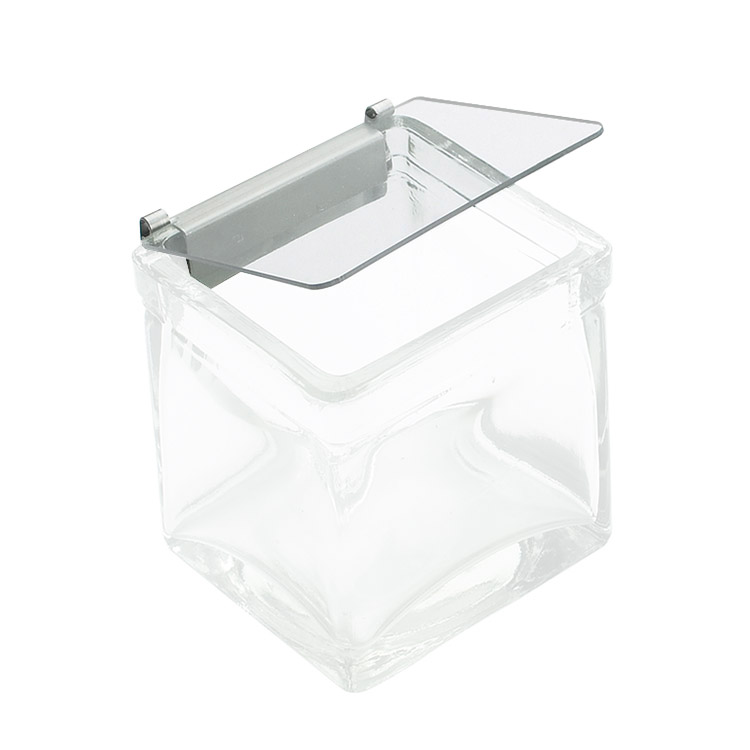 "Cal-Mil 1807 Solid Lid w/ Metal Hinge for 4 x 4"" Glass Jars"