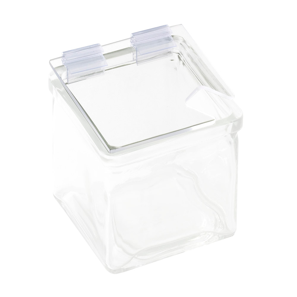 "Cal-Mil 1811-N Lid w/ Notch & Soft Hinge for 4 x 4"" Glass Jars"