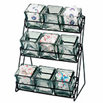 Cal-Mil 1812-39 3-Tier Wire Jar Frame w/ 9 Glass Jars, Silver