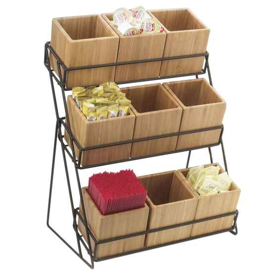 "Cal-Mil 1817-13 9-Bin Tiered Display, 13 x 9.5 x 17.5"", Black"