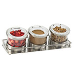 Cal-Mil 1850-4-55 Rectangular Mixology Condiment Display - 16-oz Jars, Stainless Steel