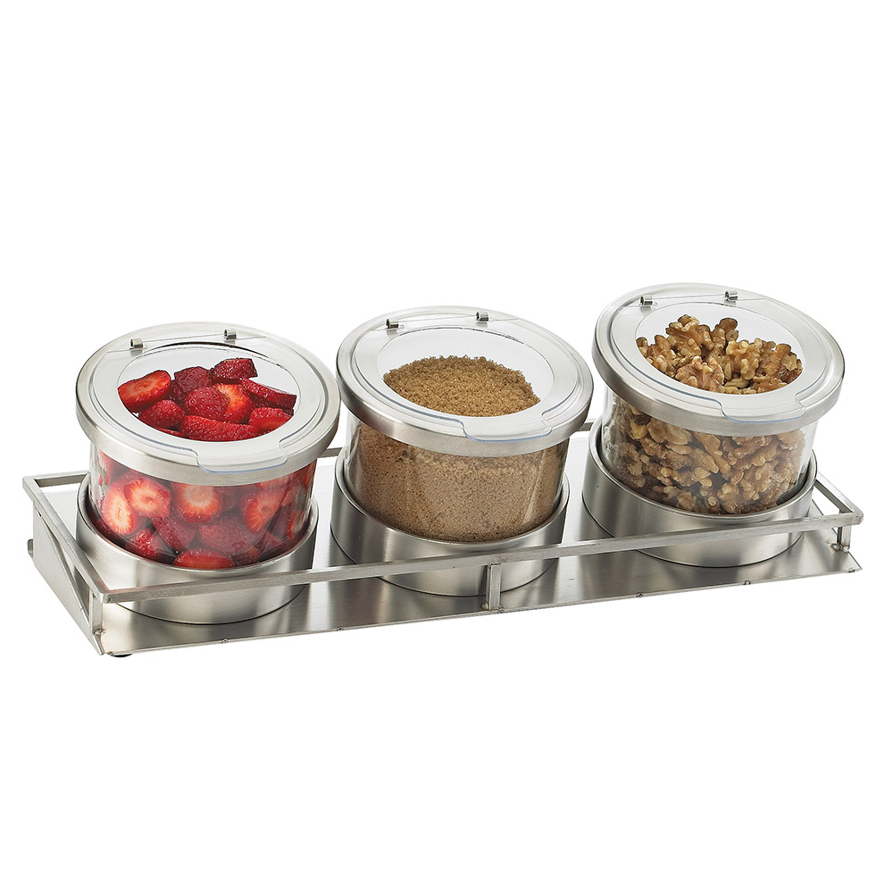 Cal-Mil 1850-4-55HL 3-Tier Rectangular Mixology Condiment Display - 16-oz Jars, Stainless Steel