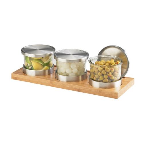 Cal-Mil 1850-4-60 3-Tier Rectangular Mixology Condiment Display - 16-oz Jars, Bamboo