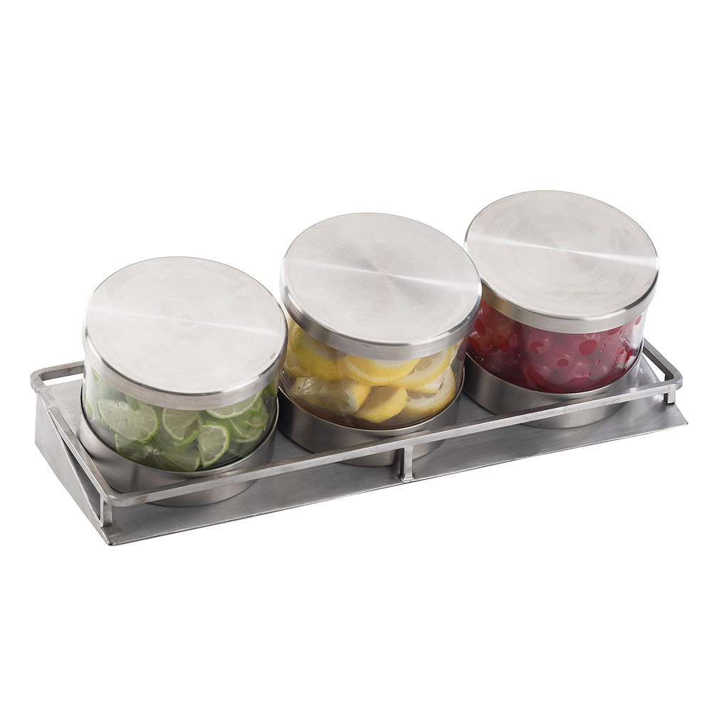 Cal-Mil 1850-5-55 3-Tier Rectangular Mixology Condiment Display - 32-oz Jars, Stainless Steel