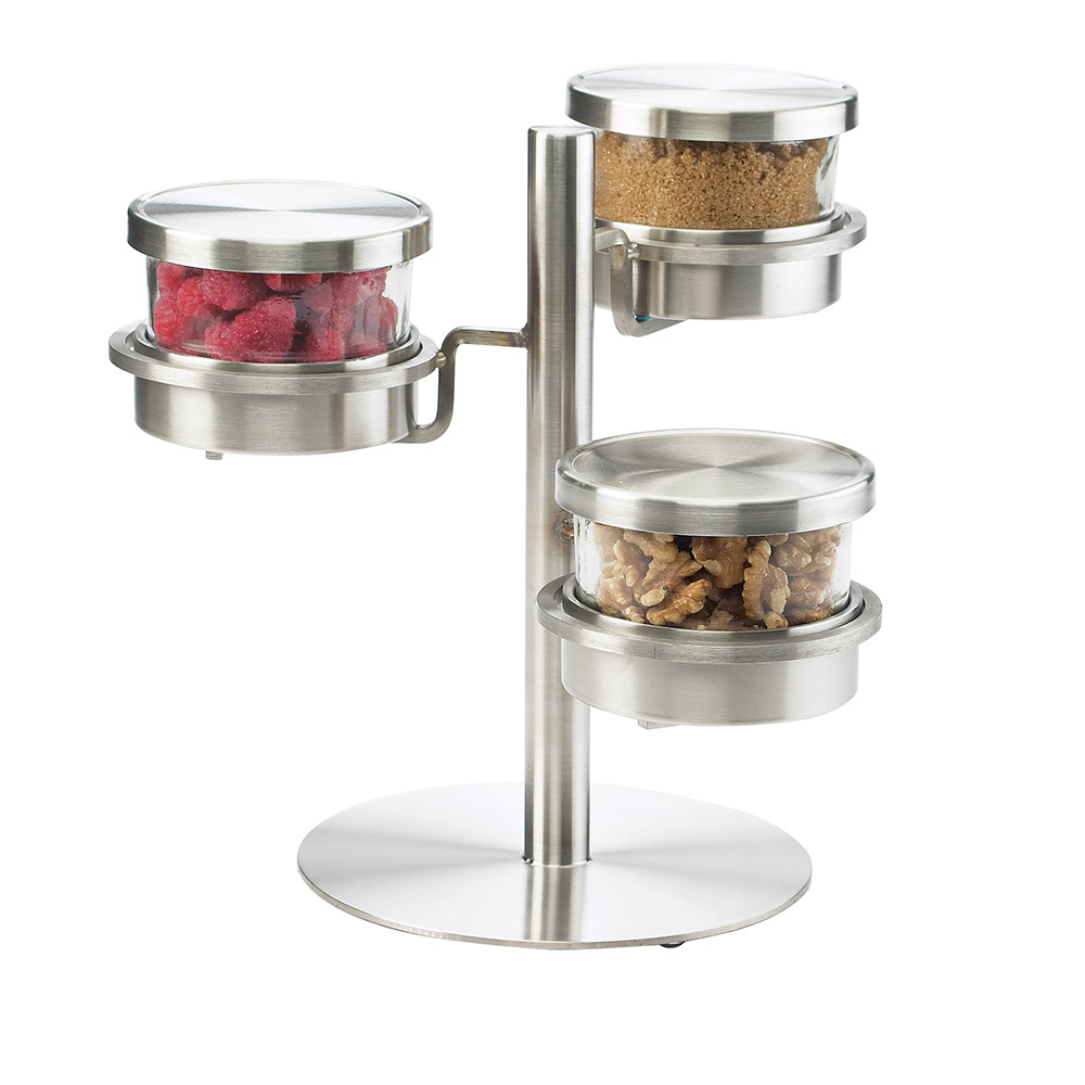 Cal-Mil 1855-5-55HL 3-Tier Mixology Condiment Display - 32-oz Jars, Hinged Lids, Stainless Steel